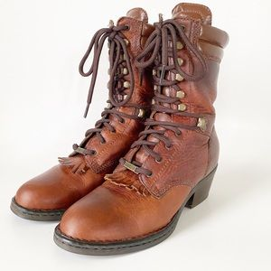 Double H Brown Leather Lace Up Boots